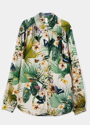 Рубашка в тропический принт