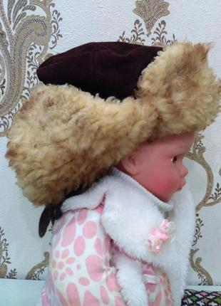 Шапка - ушанка натуральная овчина и замш