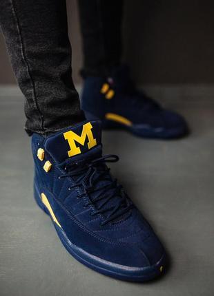 Найк аир джордан мужские синие замшевые кроссовки nike air jor...