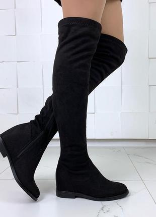 Осенние замшевые сапоги ботфорты на низком каблуке,чёрные деми...