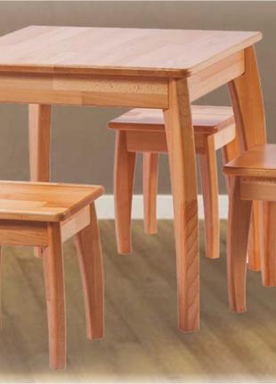 Комплект стол кухонный Kvadro и четыре табурета (массива бука).