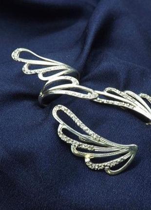 Набор серебро 925 кольцо и серьги крылья имп 15032
