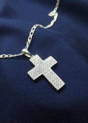 Крестик серебро 925 с цирконами имп 30328