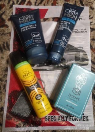 Мужской подарочный парфюмерный набор 4шт Avon Care Men Aquatic