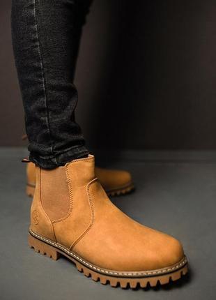 Мужские коричневые светлые зимние сапоги/ботинки.