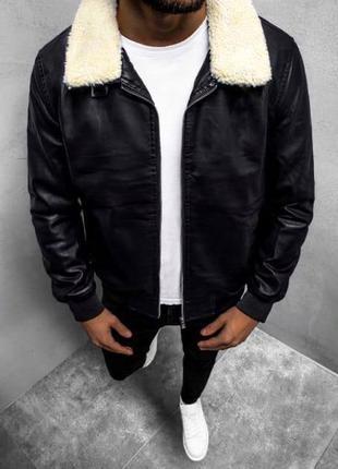 Мужская стёганная кожаная куртка с мехом