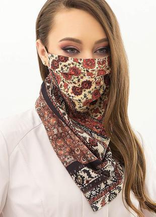 Маска платок на лицо и шею женский защитный 2в 1м. орнамент с ...