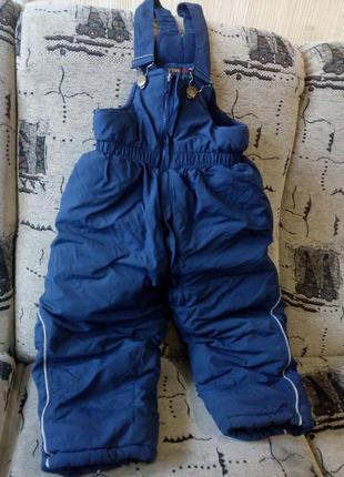 Теплые зимние штаны на подтяжках, низ от комбинезона