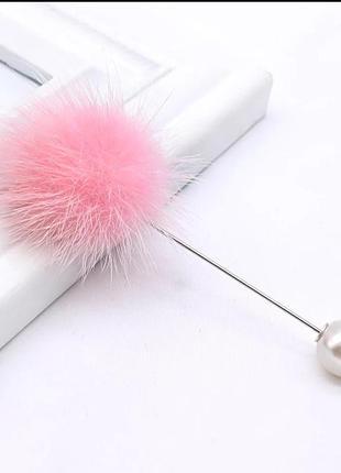 Брошь булавка женская с помпоном из натурального меха. розовая.
