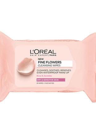 Салфетки для снятия макияжа l'oreal paris fine flowers cleansi...