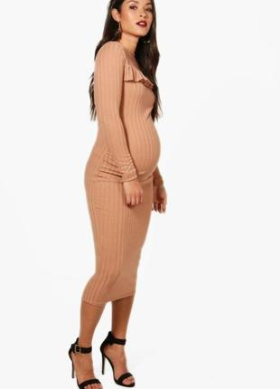 Красивое модное трикотажное в рубчик платье для беременных фир...