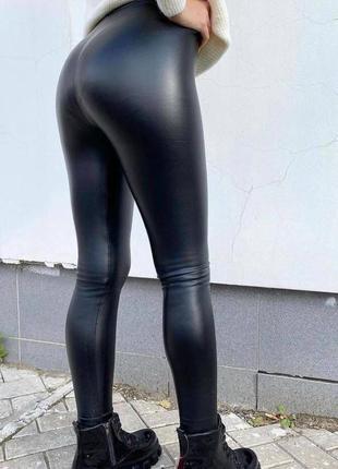 Лосины женские на флисе из эко кожи брюки черные