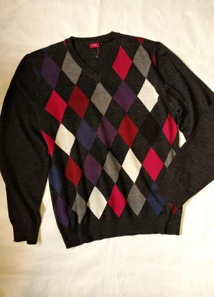 Шерстяной пуловер джемпер свитер в ромбы