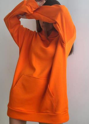 Худи удлинённое оранжевого цвета