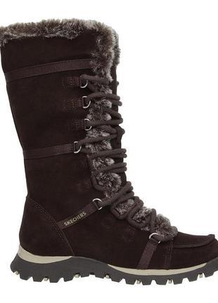 100% замшевые теплые женские ботинки, сапоги с мехом 36 skechers