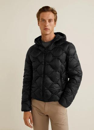 Мужская черная куртка, пуховик l mango оригинал