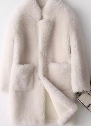 Шуба, пальто, натуральная овчина 100% мех оверсайз