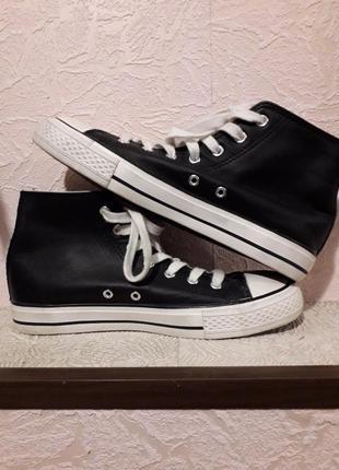Высокие черные женские кожаные кеды кроссовки esmara демисезон...