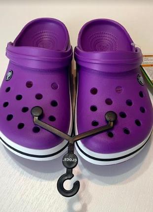 Кроксы сабо crocs crocband unisex purple/white
