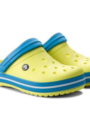 Сланцы тапочки крокс crocs crocband 11016 tennis ball green/ocean