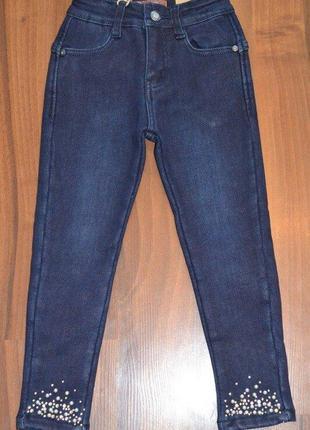 Теплые джинсы скинни на флисе для девочки в синем цвете