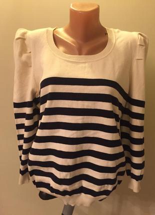 Стильный свитер в полоску с рукавами буфами фонарик в морском ...