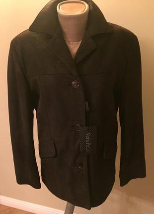 Новая утепленная  кожаная(нубук) куртка италия