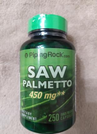Здоровья простаты  Saw Palmetto, 450 мг, 250 капсул, Piping Rock