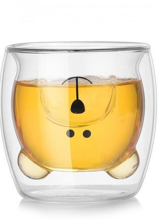 """Чашка с двойными стенками """"медведь"""" 270 мл. Чашка с двойным дном."""
