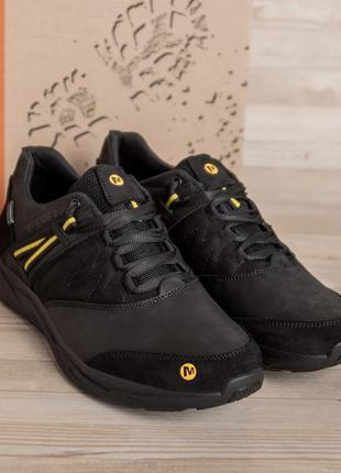 Мужские кожаные кроссовки merrell vlbram Black(40-45р)