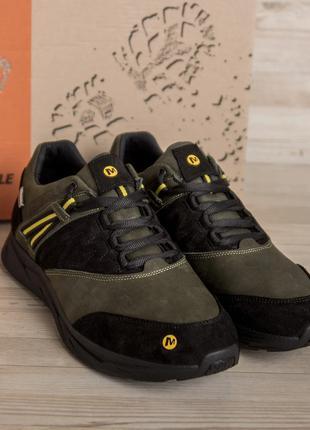 Мужские кожаные кроссовки  merrell vlbram Olive (40-45р)