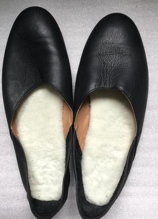 Тапочки тапки кожаные с мех стелькой flattered stockholm