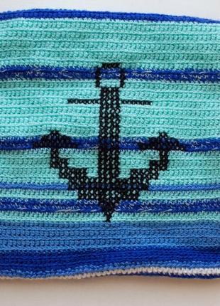 Наволочка на подушку 30*30см в морском стиле с якорем