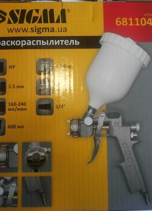 Краскораспылитель( краскопульт)SIGMA HP Ø1.5  пластиковый бак