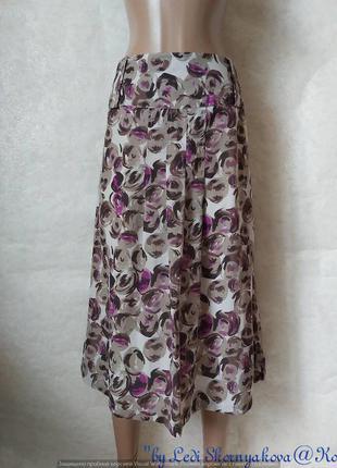 Новая симпатичная юбка миди в оригинальные крупные цветочные р...