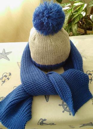Детский комплект: шапка и шарф, очень красивый синий цвет