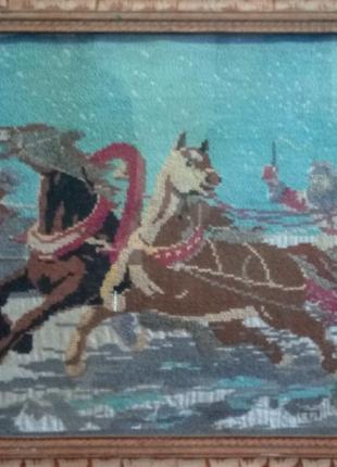 Картина крестиком СССР 1959 года 71×56 см