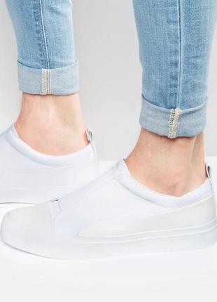 Белые кроссовки слипоны кеды из неопрена с резинками asos