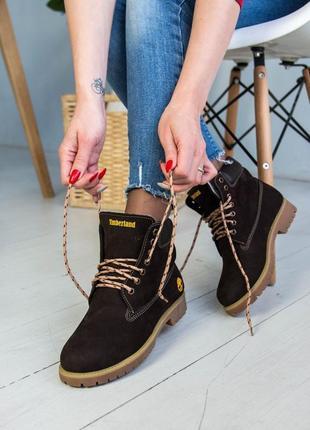 Ботинки зимние женские timberland , натуральный нубук, мех