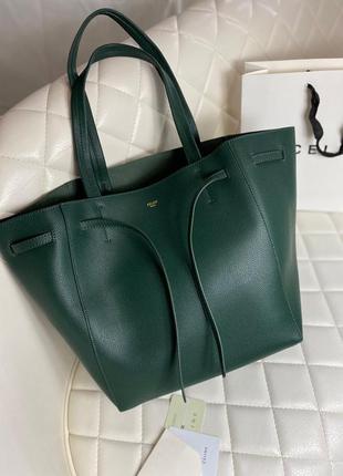 Фирменная кожаная зеленая сумка