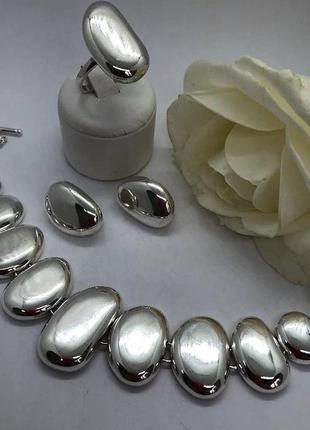 Набор серебро 925 кольцо, серьги и браслет галька
