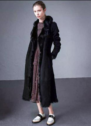 Дубленка оверсайз меховое пальто цигейка натуральная с капюшон...