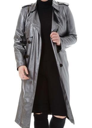 Кожаный плащ тренч пальто металлик