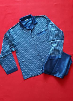 Атласная пижама на хлопковой основе синяя р 52-54