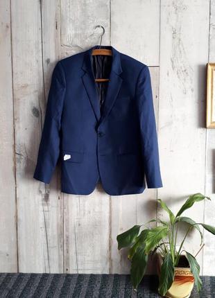 Новый синий костюм шерсть р s 46-48