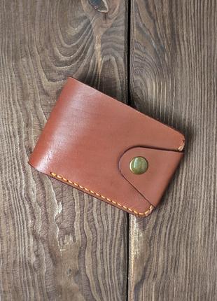 Кожаный кошелек, бумажник мужской, натуральная кожа, ручная работ