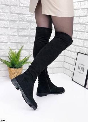 Черные ботфорты деми на низком каблуке