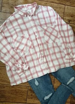 Рубашка в клетку большого размера спущенные плечи marks