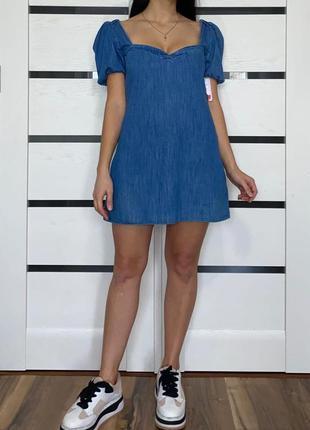 Джинсовое платье с объёмными рукавами (новое, с биркой) zara