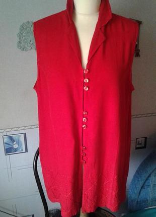 Блуза-рубашка удлинённая приталенная хлопковая с вышивкой р 50
